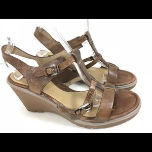 Ecco wedge leather buckle ankle strap sandals 39